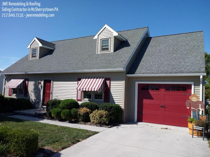 Siding installation in McSherrystown PA 17344 by JWE Remodeling: complete exterior renovation with new siding, soffit, gutters and more