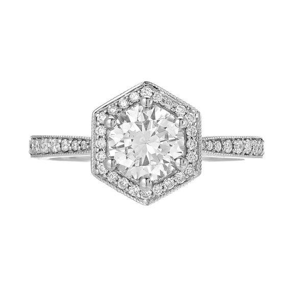 Unique hexagonal halo engagement ring san diego