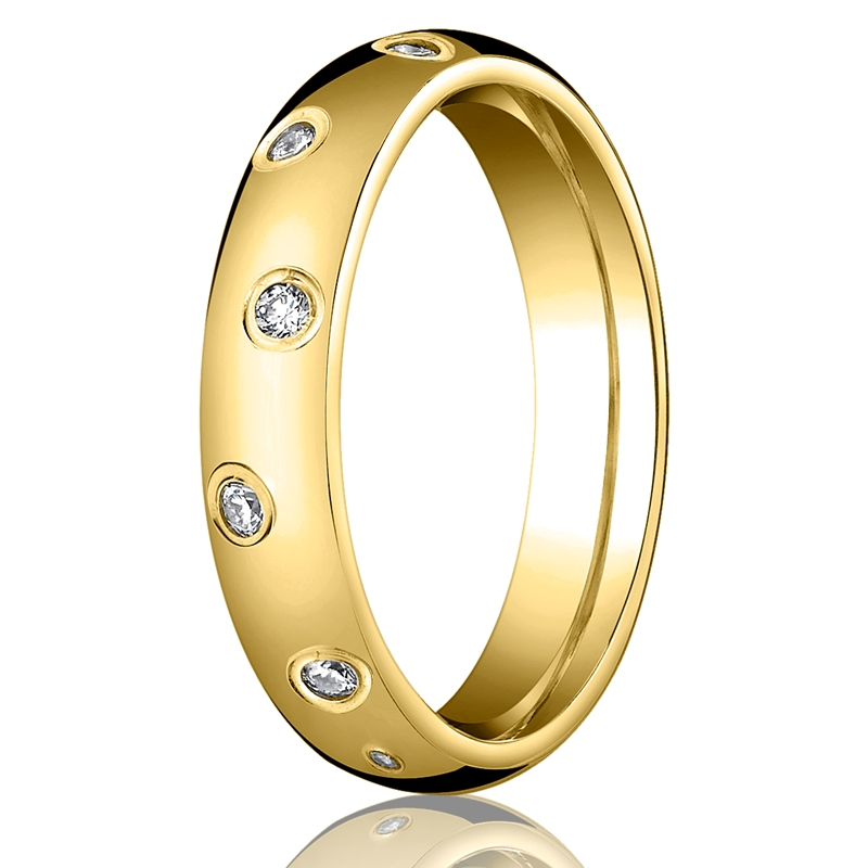 gold wedding ring with diamonds by benchmark rings