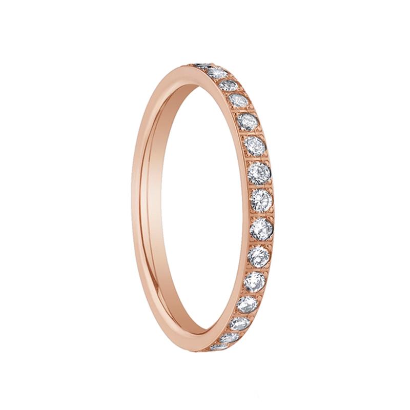 rose gold womens diamond eternity wedding band by benchmark rings