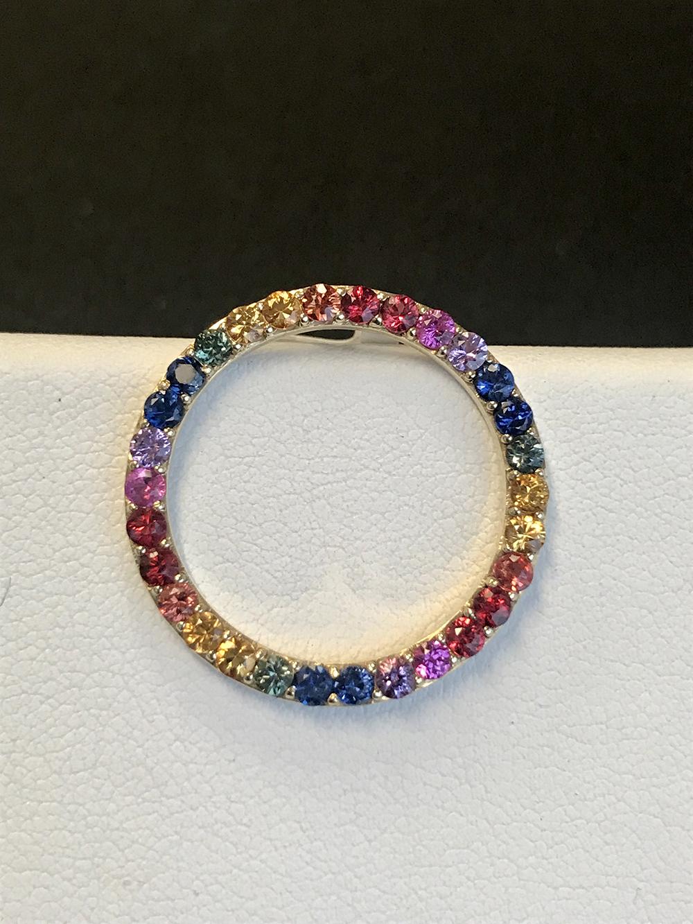 Multi color sapphire pendant