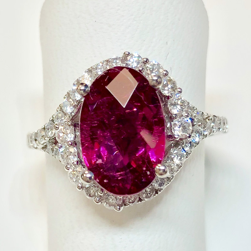 red tourmaline and diamond ring