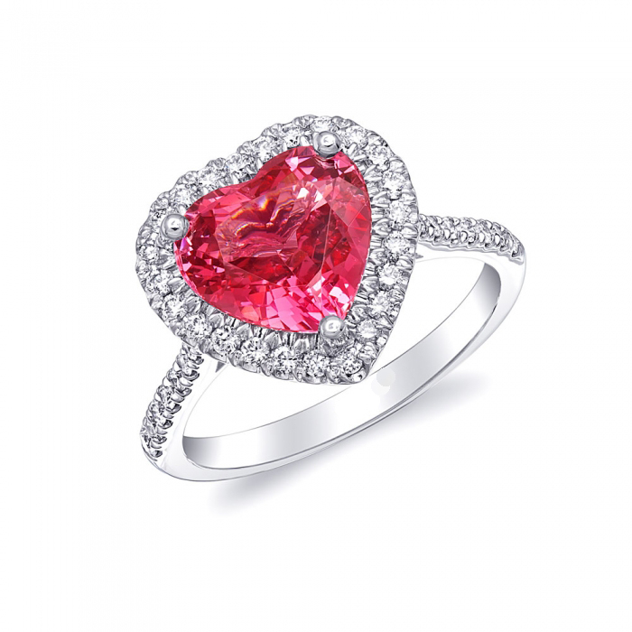 Heart shaped Spinel halo engagement ring