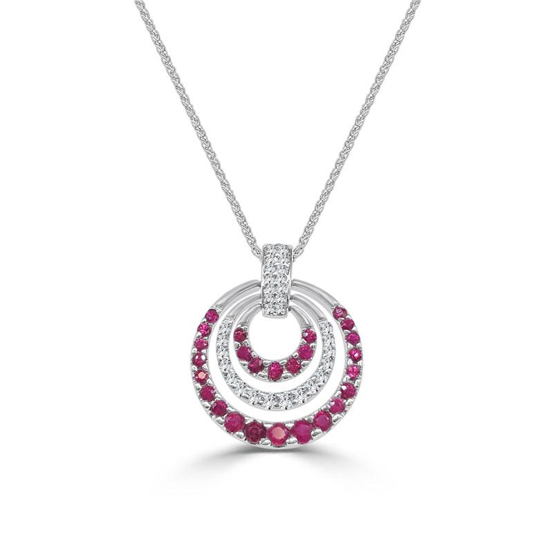Pink sapphire and diamond circular pendant