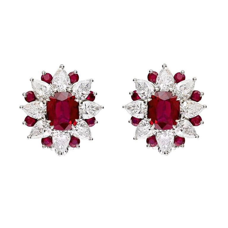 Ruby diamond cluster clip earrings