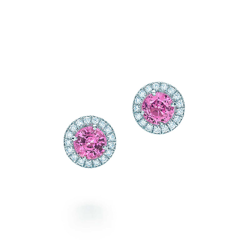 pink sapphire and diamond earrings for sale