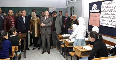 U.N. Secretary-General Ban Ki-moon (second, front left) visits a Palestinian school in Bethlehem in March 2007. Credit: UN/Evan Schneider.