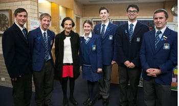 Governor Marie Bashir with Moriah pupils
