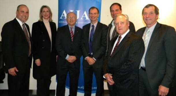 From left:  Ahron Shapiro (AIJAC Liaison), Georgie Crozier MLC (Southern Metropolitan Region), Dr. Colin Rubenstein AM (Executive Director AIJAC), David Southwick MP (Caulfield), Geoff Shaw MP (Frankston),  Andrew McIntosh MP (Kew), Bill Sykes MP (Benalla))