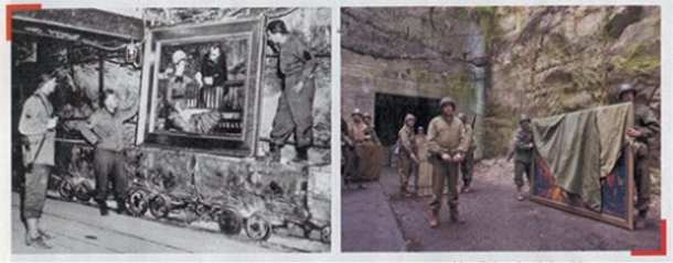 Real life member of the Monuments, Fine Arts and Archives section of the Allied armies admire a Manet painting that had been stored in a mine; their fictional counterpart (Clooney) recovers a painting from its underground hiding place
