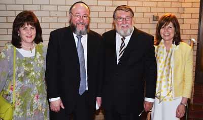 Rebbetzin Valeri Mirvis, Chief Rabbi Ephraim Mirvis, Rabbi David Freilich and Rebbitzin Aviva Freilich   Photo: Eli Rabinowitz