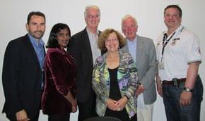 Dr Stefan Gruenert; Ms Farah Farouque; Mr Tony Nicholson; Guest Speaker Emeritus Prof. David Penington AC and Mr Danny Elbaum. In front: Mrs Faye Dubrowin (B'nai B'rith)