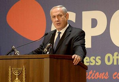 Benjamin Netanyahu addresses the international media. Photo: Amos Ben Gershon/GPO
