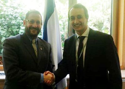 MK Rabbi Dov Lipman, from the Yesh Atid party, met with Ambassador Dave Sharma at his office in the Knesset earlier this month