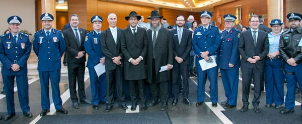 Police attending the Central Synagogue special service. Rabbi MendelKastel In the centre right...the NSW Police Jewish chaplain.entire right