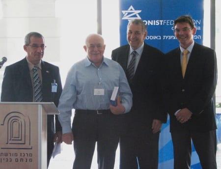 l-r Yigal Sela, Isi Leibler, Danny Lamm, Ambassador James Larsen