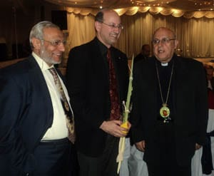 Grand Mufti Dr Ibrahim Abu Mohamed, with The Australia/Israel and Jewish Affairs Council's  Jeremy Jones and Archbishop Issam Darwich