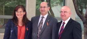 Jeremy Jones inducted as a People of Australia Ambassador, 2013, by Senator Kate Lundy, with Judge Rauf Soulio, Chair, Australia Muticultural Council, Parliament House, Canberra.