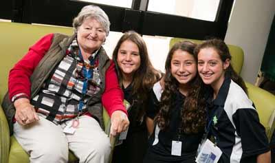 Montefiore's Lidiya Driker with Maccabi participants.