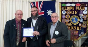 Rabbi Kastel with local Lions