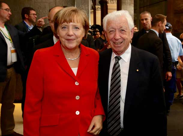 Chancellor Angela Merkel and Fronk Lowy