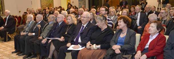 President Rivlin with Holocaust survivors and their descendants    Photo: Mark Neyman/GPO