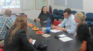Tasting the produce of the R&D greenhouses at an introductory meeting. Photo: Tania Susskind