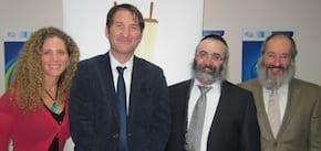 UIA Executive Director Amit Tzur-Tal Boaz Bismuth RCV President Rabbi Kluwgant and UIA President Shlomo Werdiger