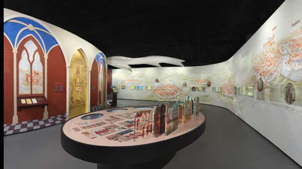 """A portion of the """"First Encounters"""" gallery within the core exhibition of the new POLIN Museum of the History of Polish Jews. Credit: Photo courtesy of M. STAROWIEYSKA, D.GOLIK/POLIN Museum of the History of Polish Jews."""