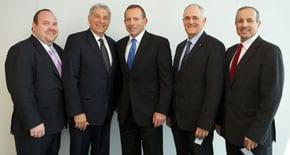 Yair Miller, Danny Lamm, Tony Abbott, Peter Wertheim and Vic Alhadeff
