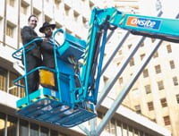 On their way down...Jason Adler and Rabbi Elimelech Levy