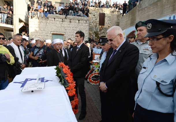 President Rivlin by the coffin of Sergeant-Major