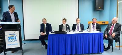 Craig Shapiro addresses remarks to the Executive,  David Freeman, CEO Robert Orie, Tom Kortner, Gary Imberg and Max Khan