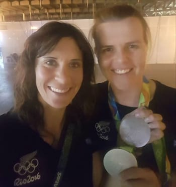 """Jo Alah and Po Gowring Photo: Faceboox A medal selfie picture """"Nothing like having to fight for it....Happy and tired, thank you to everyone who has sent such amazing messages of support. The medal is not just mine, it's all of ours..."""""""