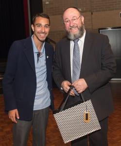 Moriah captain Dean Nathanson presented the Chief Rabbi with a gift    All photos: Henry Benjamin