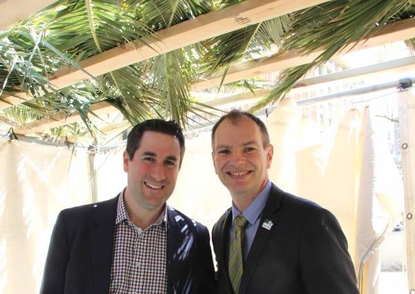 Robin Scott and David Southwick in the Sukkah