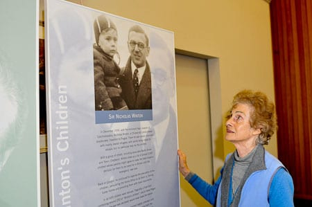 Sydney's Norah Huppert looks up at Sir Nicholas Winton...the man who rescued her from Prague.   Photo: Henrty Benjamin