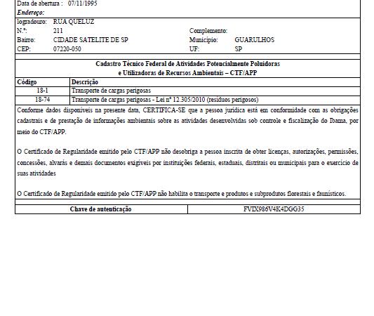 Certificado RCTF IBAMA