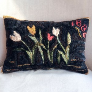 1886 Hand Hooked Tulip Pillow