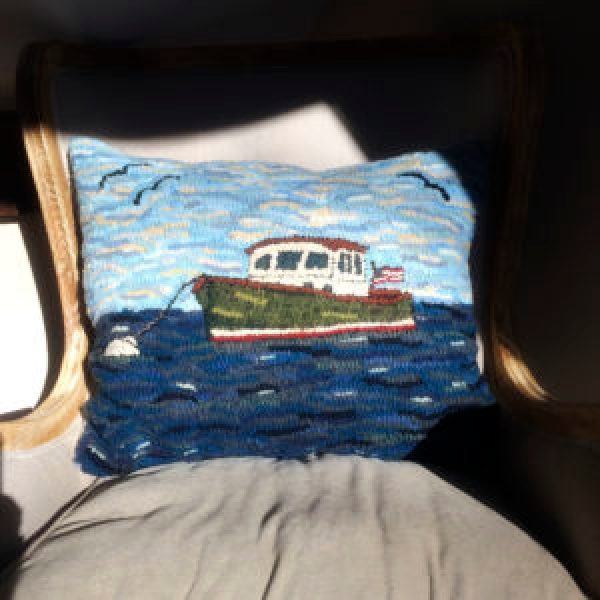 Maine Lobster Boast Hand Hooked Pillow