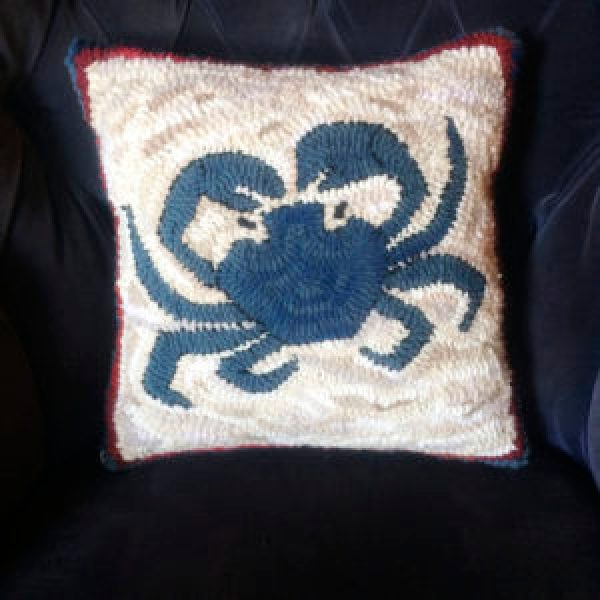 Hand Hooked Blue Crab Pillow