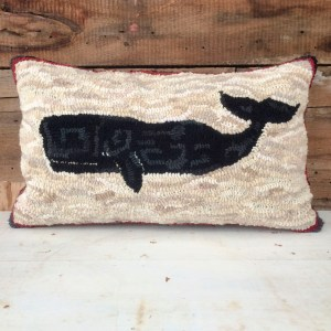 Hand Hooked Primitive Whale Pillow