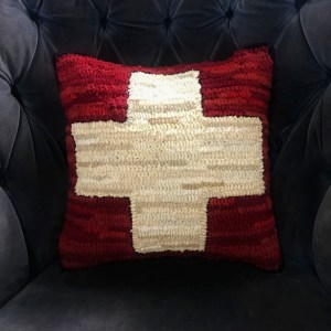 Red Hooked Ski Patrol Pillow