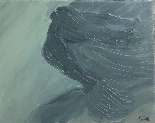 Pregnant mermaid in an abstract painting