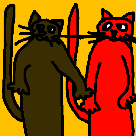 chat brun/chat rouge