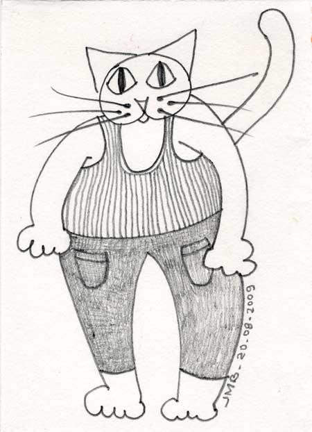 chat en marcel et pantalon avec deux poches plaquées