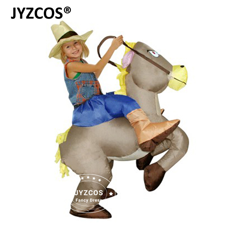 Unisex Inflatable Cowboy Costume Fancy Dress Battery Operated Inflating Horse