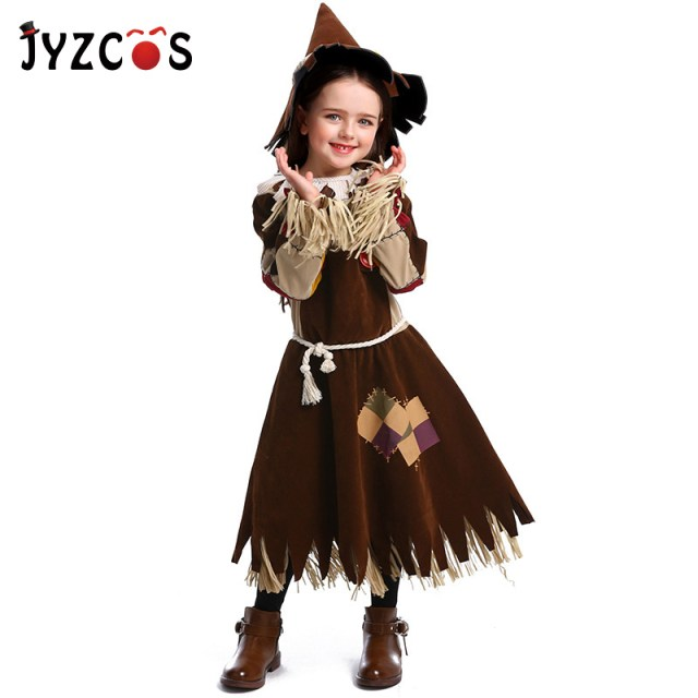 ecbe3ff77567 JYZCOS Girls Fairy Tale The Wizard of OZ Costume The Scarecrow Cosplay  Purim Halloween Costume for Kids Carnival Party Costume