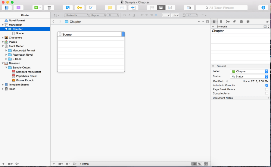 Scrivener empty document