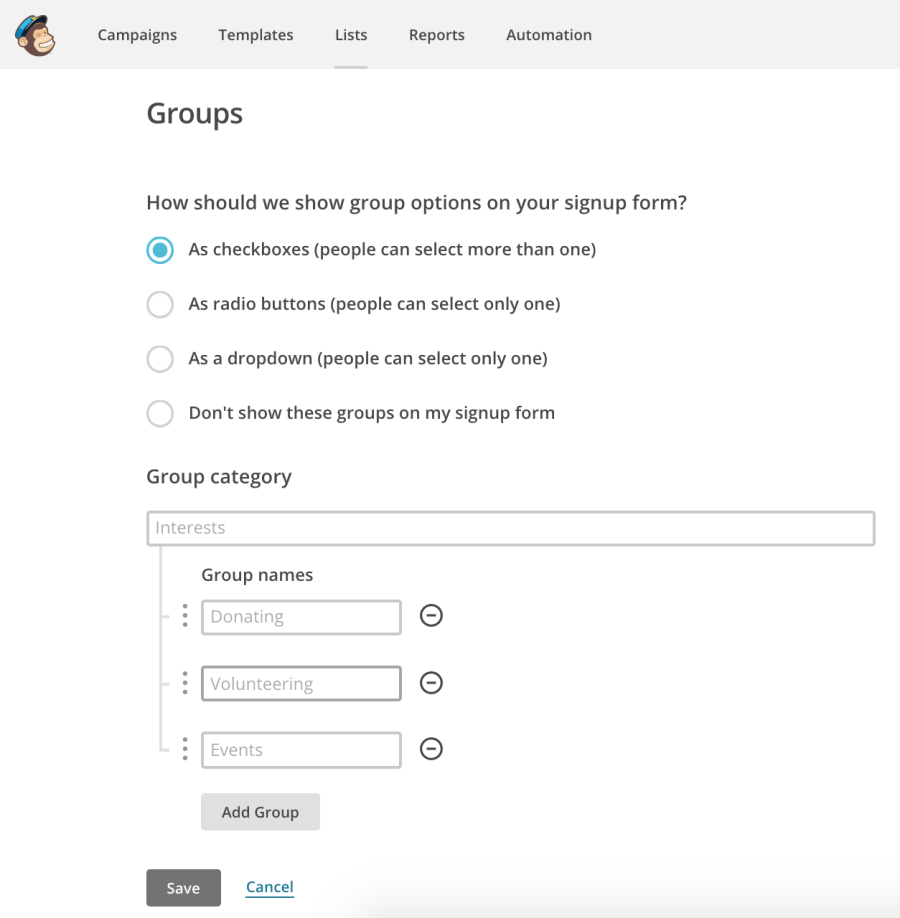 A screenshot of MailChimp